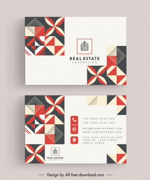 business card templates flat decorative symmetry shapes