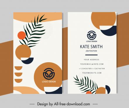 business card templates flat leaf circles sketch