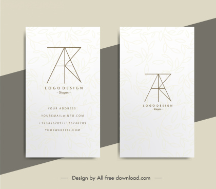 business card templates flat line texts layout sketch