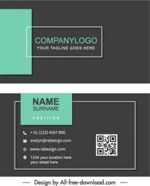 business card templates flat plain dark bright decor