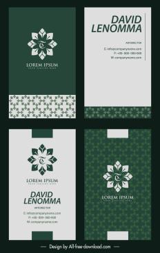 business card templates floral decor flat dark design