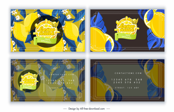 business card templates lemon theme colorful classic decor