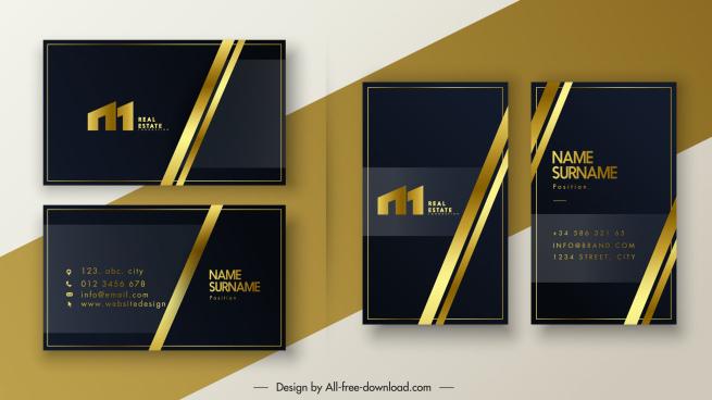 business card templates luxury elegant black golden decor