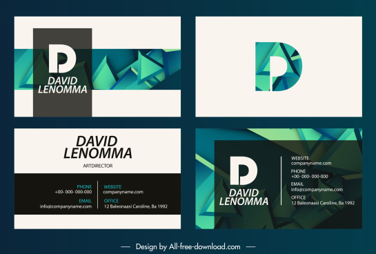 business card templates modern 3d shapes decor