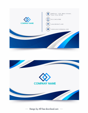 business card templates modern blue white swirled decor