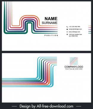 business card templates modern colorful bended lines decor