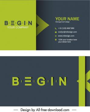 business card templates modern contrast flat texts decor