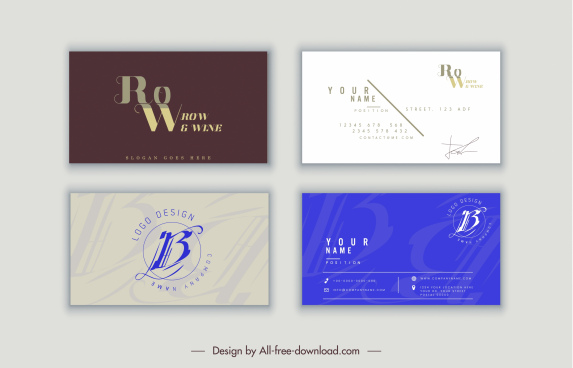 business card templates modern design texts layout ornament
