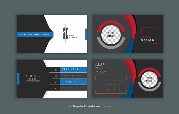 business card templates modern elegant dark design