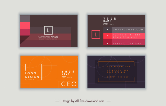 business card templates modern simple dark flat decor
