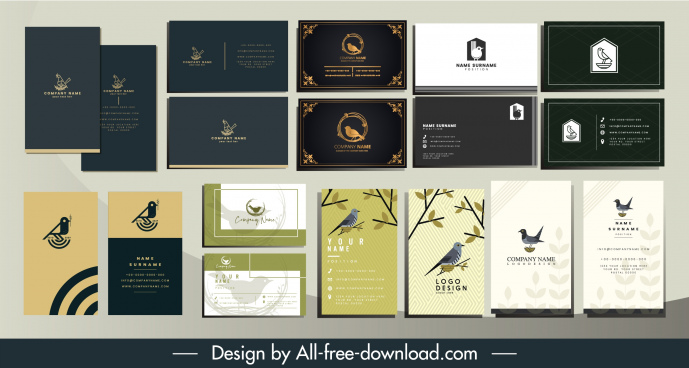 business card templates natural birds theme