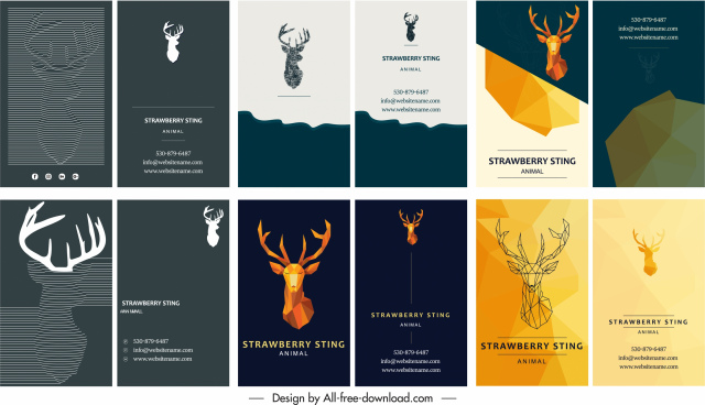 business card templates natural reindeer theme modern design
