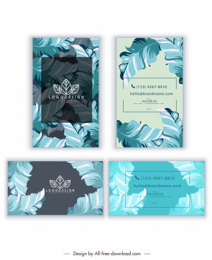 business card templates nature leaves decor colored classical