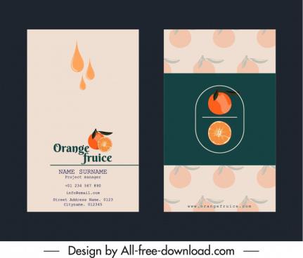 business card templates orange juice theme elegant classic