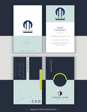 business card templates plain design signature decor