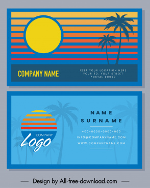 business card templates sunset scene theme coconut decor