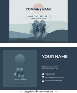business card templates tree sketch dark retro
