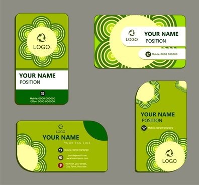 business card templates with green ecology design