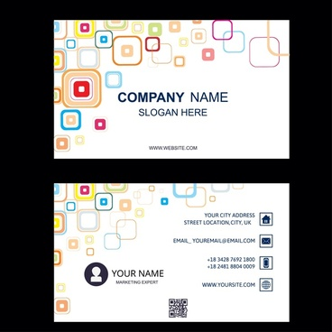 business card with abstract squares white background illustration