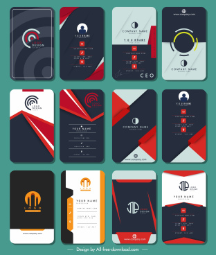 business cards templates collection colorful vertical design