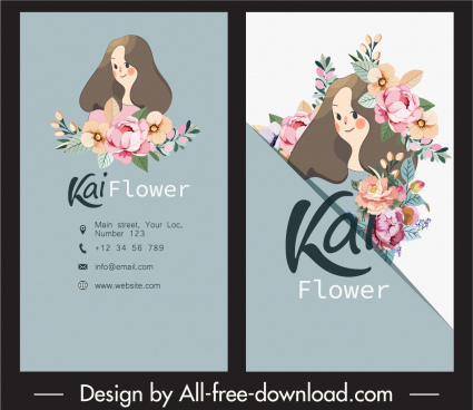 business cards templates cute girl floras decor