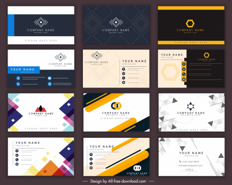 business cards templates dark bright modern elegant decor