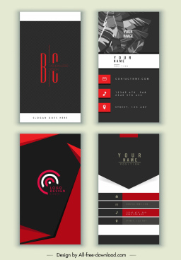business cards templates elegant dark black red decor