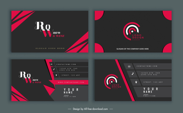 business cards templates elegant modern black red decor