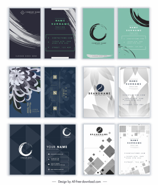 business cards templates floral geometric abstract decor