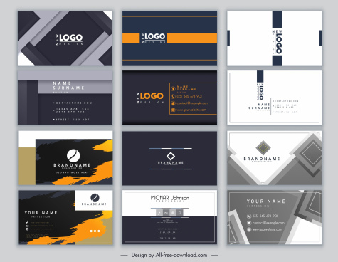 business cards templates modern elegant abstract geometric decor