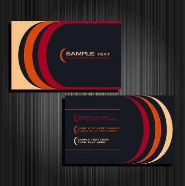 name card templates modern design colorful curves ornament