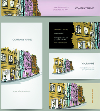 business cards with banner design vector