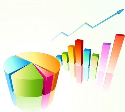 business chart templates colorful 3d pie column arrow