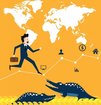 business concept background human crocodile chart map icons