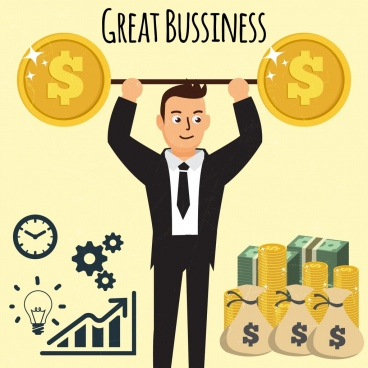 business concept background male weight money icons
