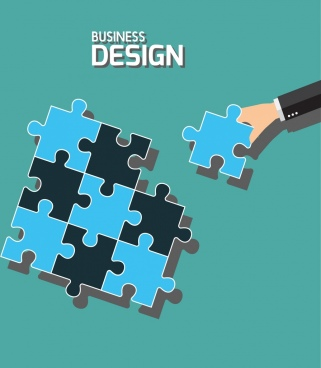 business concept background puzzle joints icons flat design