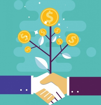 business cooperation concept background coins tree handshake icons