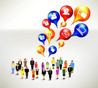 business crowd design vector set