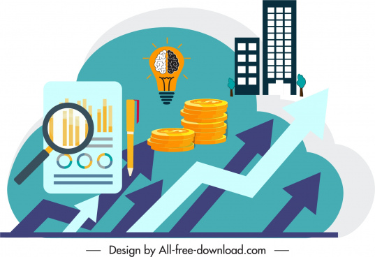 business design elements arrow coin lightbulb chart sketch