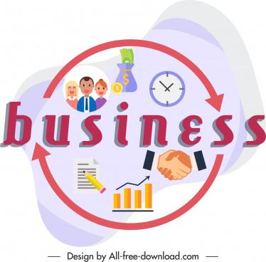 business design elements handshake staff clock chart sketch
