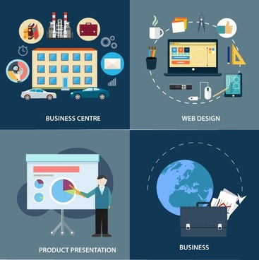 business development elements concepts isolated with various types