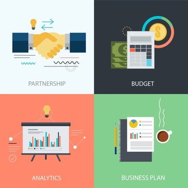 business development elements isolation with flat color design