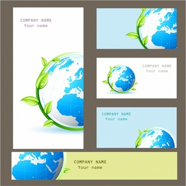 Business elements cards, banner and folder