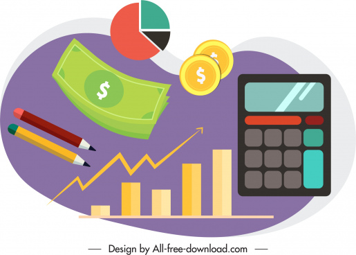 business elements icons money coin calculator charts sketch