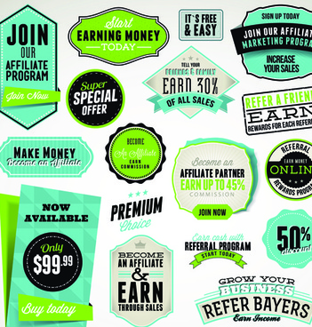 business elements stickers and labels vector
