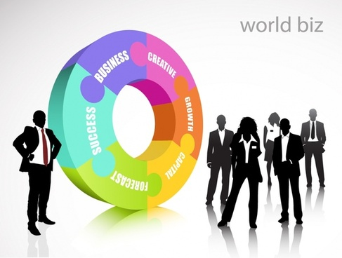 business background human silhouettes 3d pie chart