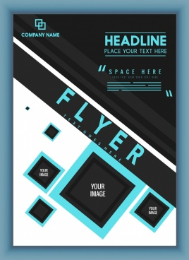 business flyer background modern black blue geometric design