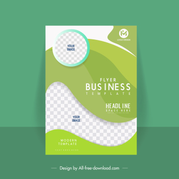 business flyer cover template bright modern checkered curves