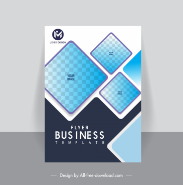 business flyer cover template flat geometric checkered decor