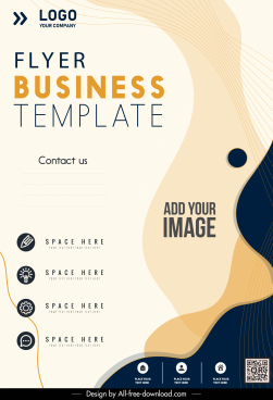 business flyer template abstract curves decor